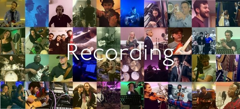 Montage of recording session happy clients